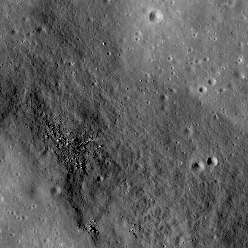 The linear rille Rima Ariadaeus is found on the nearside of the Moon, nestled between Mare Tranquillitatis and Mare Vaporum. Most linear rilles are believed to represent tectonic faulting and can be used to determine stratigraphic relationships on a surface. Image width is 1.2 km (3/4 mi). Credit: NASA/Goddard Space Flight Center/Arizona State University