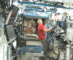 Expedition 22 Commander Jeff Williams works in the U.S. Destiny laboratory aboard the International Space Station. Credit: NASA TV