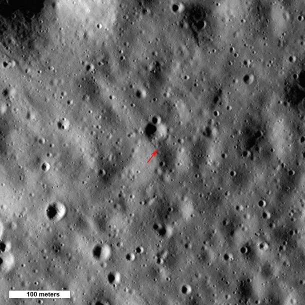 Arrow shows highest point on the Moon, 10,786 meters (35,387 feet) above the mean radius. North is up, Sun elevation is 16° from the horizon, image 500 meters wide, from M133865651L,R mosaic. Credit: NASA/GSFC/Arizona State University