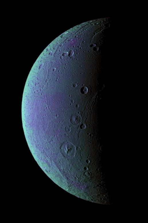This view highlights tectonic faults and craters on Dione, an icy world that has undoubtedly experienced geologic activity since its formation. Image credit: NASA/JPL/Space Science Institute