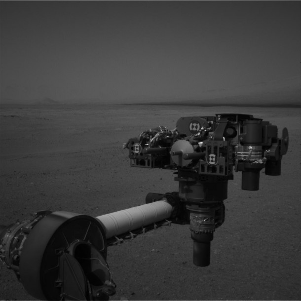 This full-resolution image from NASA's Curiosity shows the turret of tools at the end of the rover's extended robotic arm on Aug. 20, 2012. Image credit: NASA/JPL-Caltech